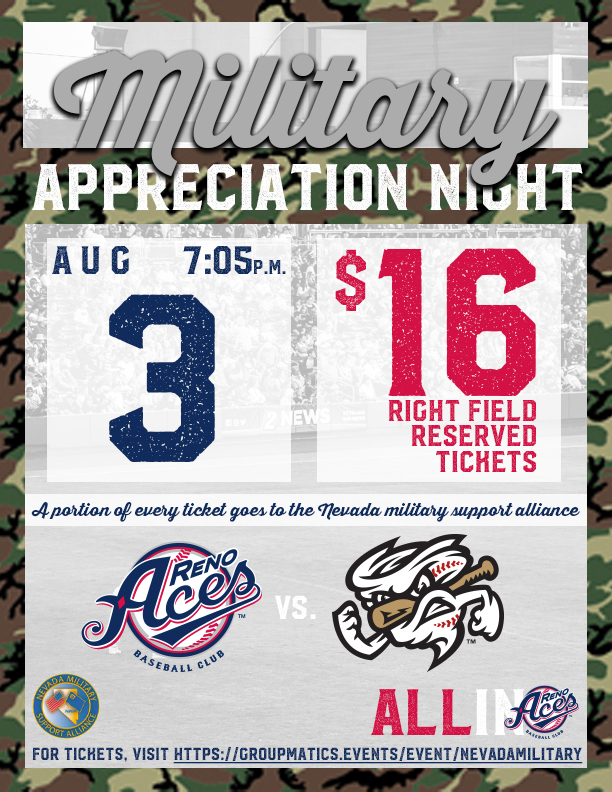 Reno Aces Nevada military support alliance flyer